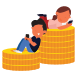 Happy people sitting on a pile of coins