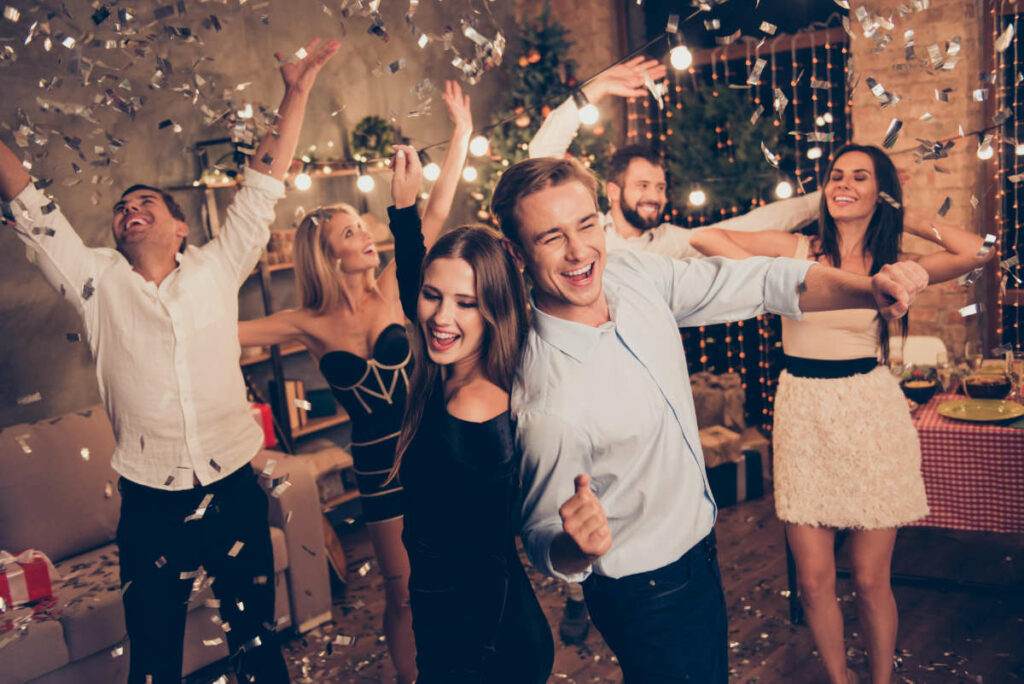 Happy people at a party